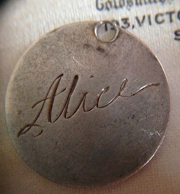 Victorian 1900 Solid Silver SixPence Coin Holed Engraved ALICE Love Token Charm