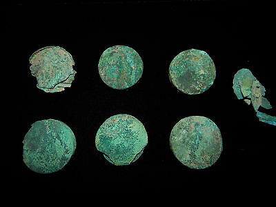 Pre-Columbian Moche Silver and Copper Discs, Mummy Discs, Authentic 100%