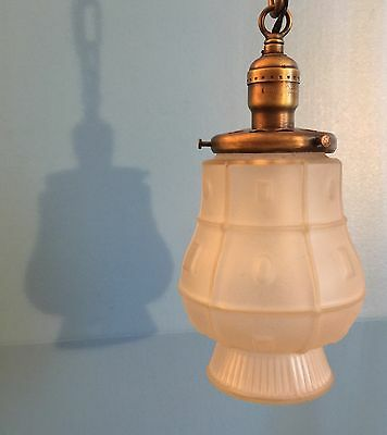 Vintage Brass Pendant Light Wired Hubbell Socket Unique Globe