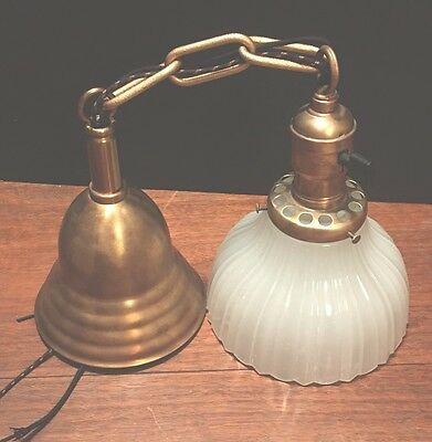 "19"" Long Vintage Antique Pendant Light Brass Socket Wired Glass Shade Globe"