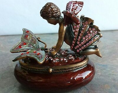 Butterfly Trinket Box Hand Crafted Enameled with Crystals