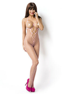 Sexy Neckholder Bodystocking Grobnetz Body Stocking Cutouts Grob Netz Catsuit