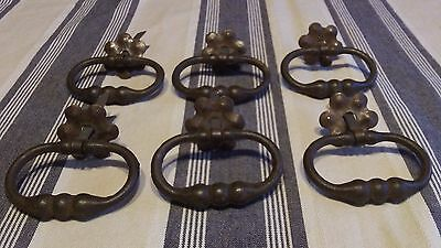 Set of 6 Vintage French Antique  Furniture Dropper  Handles with fittings C 1910