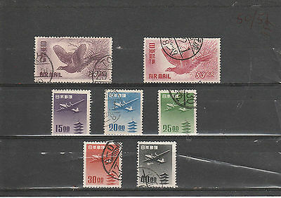JAPAN 1950-51 small group of Airmails incl BIRDS, mainly Fine Used