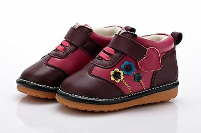 Girls Toddler Childrens Kids Real Leather Ankle Boots Squeaky Hot Pink & Purple