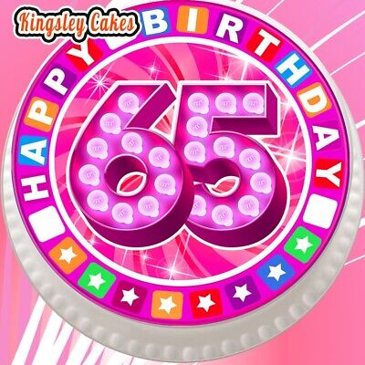 Precut Edible Cake Topper Icing Sheet 75 Inch Happy 65Th Birthday Pink Jcblp065