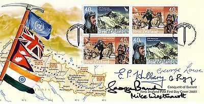 NZ P.O.  Conquest of Everest 1953 FDC Signed by Sir Ed Hillary plus FOUR Proof!