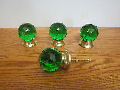 "4 Pcs Large size Knobs, Glass, Ball, Green 2"" with Brass Base"