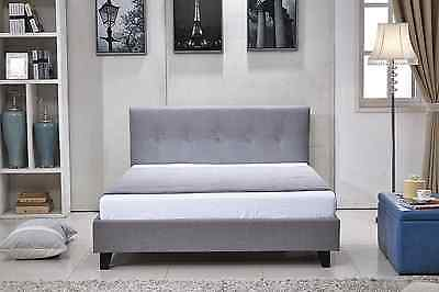Tonia Modern Fabric 4FT6 Double/King Size Bed Sleigh Bed + Memory Foam Mattress