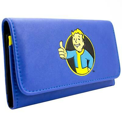 New Official Bethesda Fallout 4 Thumbs Up Vault Blue Id & Card Tri-Fold Purse