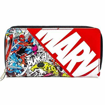 New Official Marvel Avengers Characters Comic Style Red Coin & Card Clutch Purse