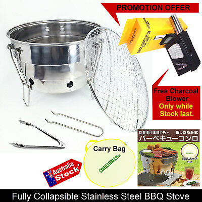 Portable Stainless Steel Bbq Grill Stove Charcoal Pinic Camping Fishing Outdoor