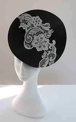 Black Round Twisted Fascinator with White Lace - BNWT - Made is Aus