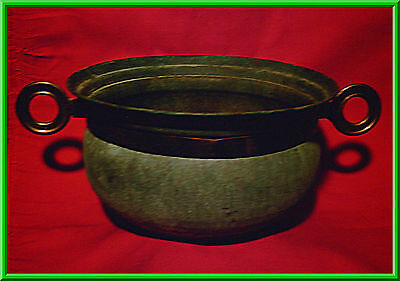 VTG Solid Brass ANTIQUE PLANTER POT with Band & Ring Handles (Turquoise Tarnish)