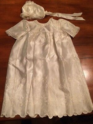Vintage satin christening gown and cap