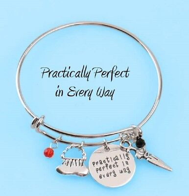 MARY POPPINS CHARM BRACELET PRACTICALLY PERFECT IN EVERY WAY Bangle Disney Quote