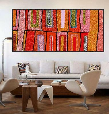 Huge Aboriginal style painting by Anna Narnina, 200cm by 100cm G014