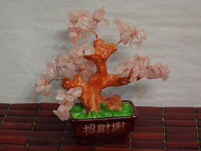 Rose Quartz Chip Bonsai Tree Opens The heart Chakra excellent