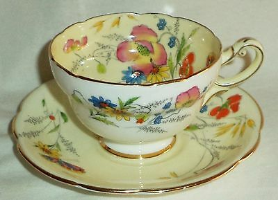 Star Paragon Cup & Saucer Summer Time White Cream Floral Butterfly Gold 1923-33