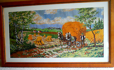 Beautiful hand-made tapestry with Glydesdale Horses;  Baltic Pine Frame.