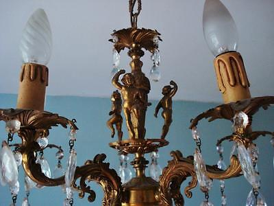 French Actress Estate -Vintage French 5 Light CHERUBS Chandelier Crystal Prisms