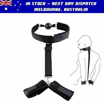 High Quality Adult Bondage Head to Wrist Restraints with Ball Gag for Role Play