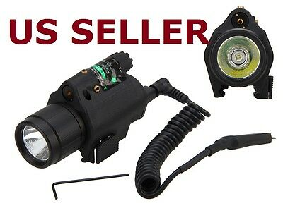US SHIP Tactical CREE Q5 LED Flashlight+Red Laser Sight Combo for Rifle Shotgun