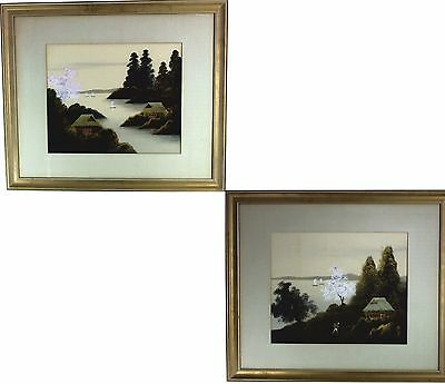 """Two Japanese Paintings by Jukou Miki Circa 1950's Watercolor on Silk - 26"""" x 22"""""""