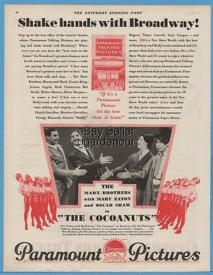 1929 The Cocoanuts Marx Brothers Groucho Chico Zeppo Harpo First Movie Cinema ad