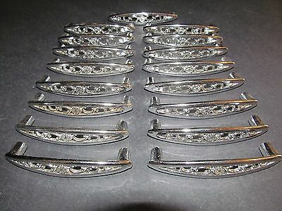 Vtg 17 Silver Floral Metal Cabinet Drawer Pulls Handles -  Marked Japan