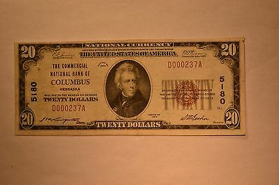 Columbus, NE - $20 1929 Ty. 1 The Commercial NB Ch. # 5180. Extremely Fine.