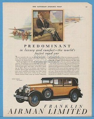 1928 Franklin Airman Limited Sport Sedan Raymond Thayer Airport Car Art Ad