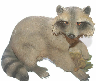 Vintage Large Raccoon with Acorns Statue, Cabin Decor