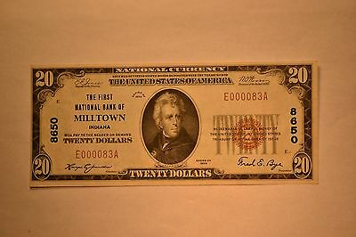 Milltown, IN - $20 1929 Ty. 1 The First NB Ch. # 8650.  Extremely Fine.