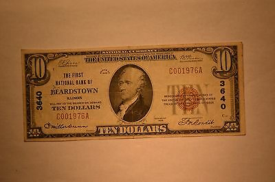 Beardstown, IL - $10 1929 Ty. 2 The First NB Ch. # 3640. Fine/VF.
