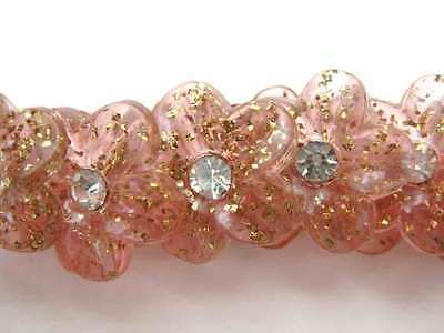 Vintage Rhinestone Buttons Pink Flowers With Tinsel Glitter Shank Austria 1950s