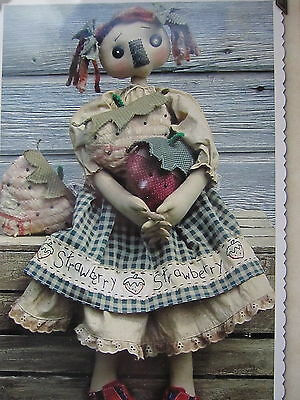 ** STRAWBERRY PATCHWORK *..Cloth Doll  pattern..by Cat & The Fiddle Designs..NEW