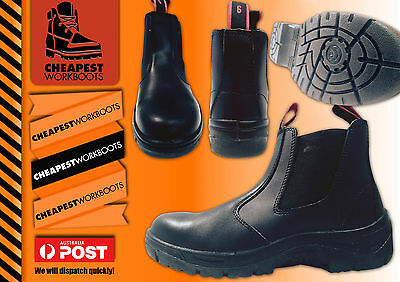 WORK BOOTS Steel Cap Toe SAFETY  Slip On Black Leather Slip Resistant FREE Gift