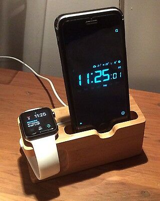 Charging bamboo wood dock station for Apple Watch & iPhone 7 (or earlier)