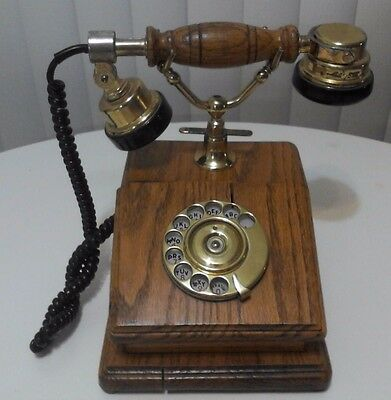 Vintage Oak And Brass Rotary Cradle Phone