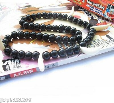 Anime Inuyasha Beads Kikyou Inspired Wolf Tooth NECKLACE JEWELRY Cosplay