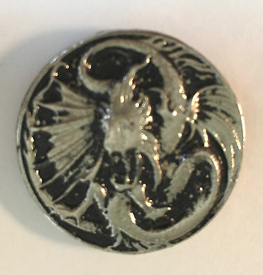 Vintage Sculpted Alien (like) Dragon Medallion P old metal badge