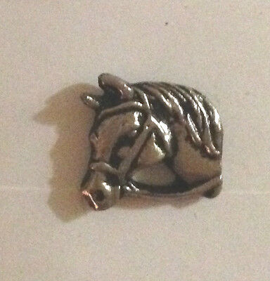 Vintage Sculpted Horses Bridled Head P b2 old metal pin