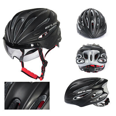 Black Cycling Bicycle Adult Safety Road Bike Helmet Head Protector With Visor