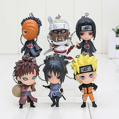 Anime 6pcs/set Naruto Keychain Action Figures Anime PVC brinquedos Collection...