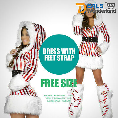 Women Adult Cosplay Fancy Dress Christmas Sexy Candy Cane Costume New