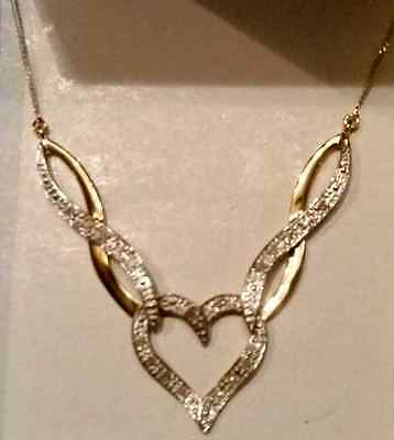 9ct Gold and Diamond Necklace - Brand New