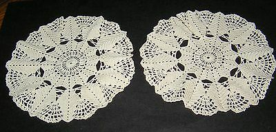 2 Vintage Hand Crocheted Pineapple Stitch Lace Cotton Ecru Round Doilies Set Two