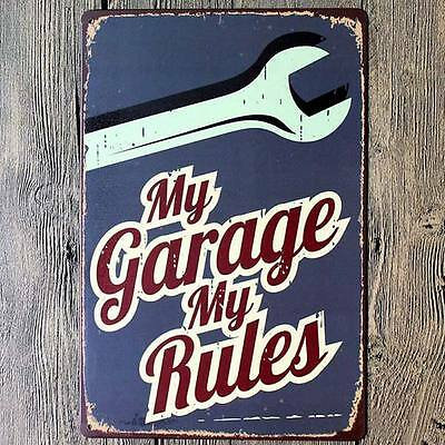 My Garage My Rules Tin Metal Signs Plaque Paintings Shop Bar Garage Wall Decor