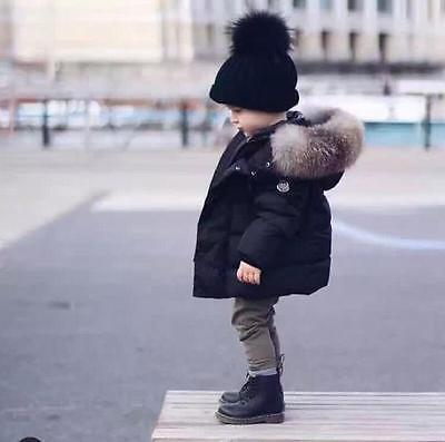 Winter Kid's Boys Girl's Fur collar Hooded Coat Cotton jacket thick coat Jacket
